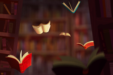 Illustration: The Book World. Realistic Fantastic Cartoon Style Artwork Scene, Wallpaper, Game Story Background, Card Design