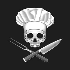 The skull in toque and crossed knife and fork. Vector illustration.