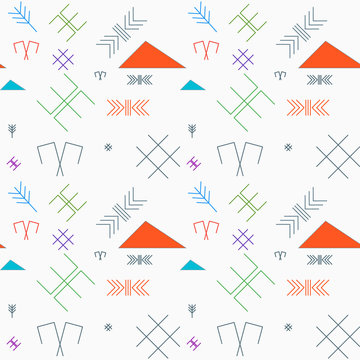 Seamless pattern with the oriental traditional baltic signs in l