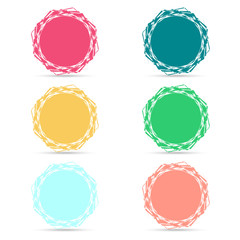 Set of six color vector badges for your design on white backgrou
