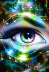 Woman Eye and music note and cosmic space with stars. Audio music speaker silhouette. abstract color background, eye contact.