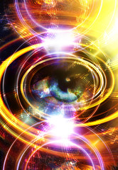 Woman Eye and music note and cosmic space with stars. abstract color background, and yellow light, fire circle. eye contact.