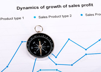 Business concept with compass and graph on paper