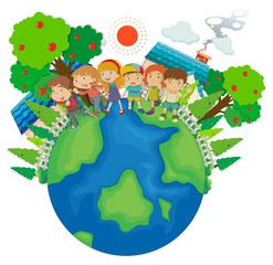 Children standing around the world