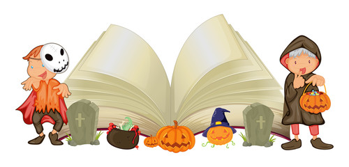 Open book and kids in halloween costumes