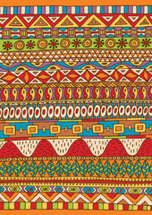 African Pattern / Hand drawn colorful African pattern. NOT seamless.