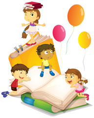 Children having fun with big books