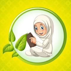 Muslim girl reading book