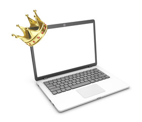 Laptop and crown on a white background.