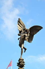 View of the familiar statue of Eros in Piccadilly Circus, London.