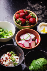 Open Sandwich preparation: ingredients and ready