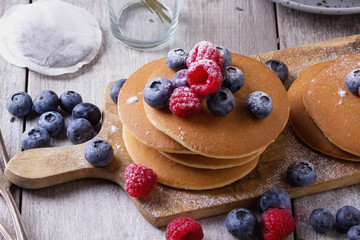 Pancakes with Berries and tea