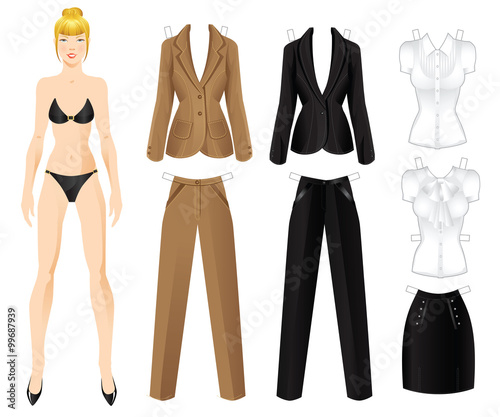 185143db0089c Doll business woman with clothes. Set of template paper clothes for office.  Vector illustration