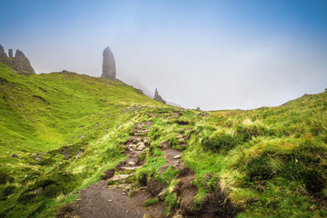Wall Mural - The way up to the Old Man of Storr on a cloudy day - Isle of Skye, Scotland, UK