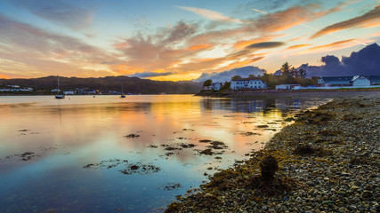 Wall Mural - Beautiful Scottish sunset at Kyleakin village - Isle of Skye, Scotland, UK