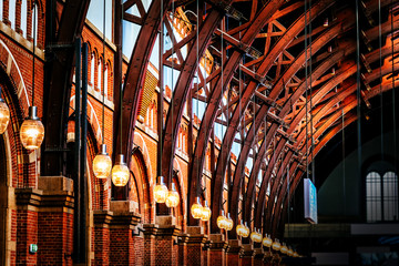 Foto op Canvas Treinstation Old vintage roof structure at train station in Copenhagen, Denmark