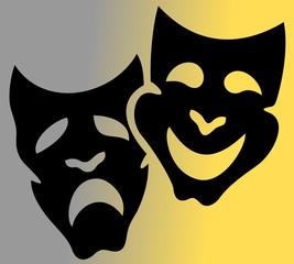 black art theatrical masks vector