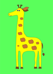 Hand-drawn cute giraffe picture