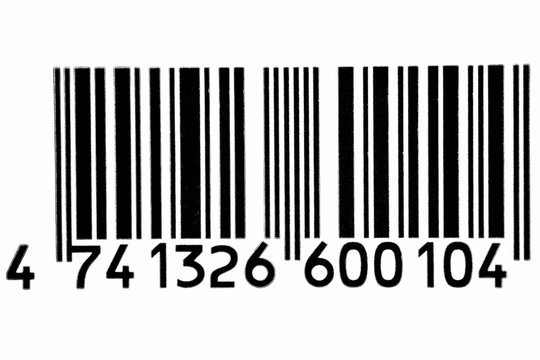 Frontal view black barcode in white background