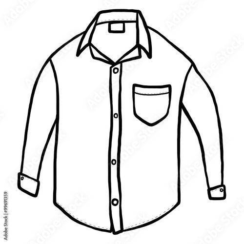 White Shirt Cartoon Vector And Illustration Black And