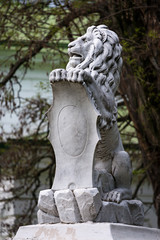 Statue of lion holding a shield in its paws. Regal lion leaning on empty heraldic shield.