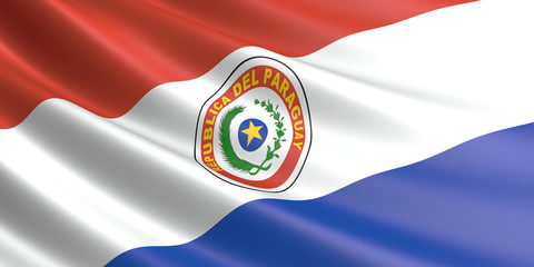 Flag of Paraguay waving in the wind.