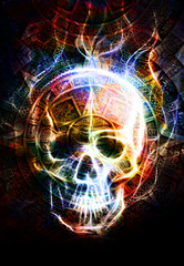Ancient Mayan Calendar and skull,  Skull wirt fire effect. abstract color Background.