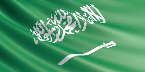 Flag of Saudi Arabia waving in the wind.