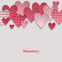 Valentine's day abstract background with pink paper hearts. Vect