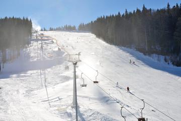 The slope of Bukovel ski resort, Ukraine