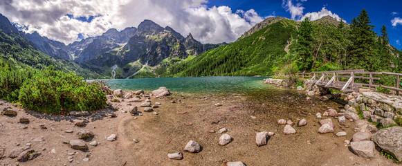 Panorama of beautiful lake in the Tatra Mountains