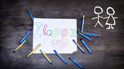 Hand drawing picture: I love you