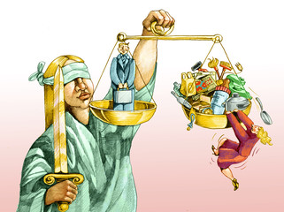on the scales of justice for men and women