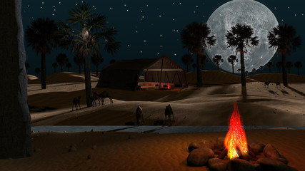 Sahara and Arabian desert view with fire camp, tent, full moon, palm trees, camels, lanterns and river.