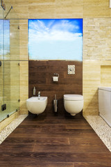 Interior design. Large Bathroom in Luxury Home. Toilet.