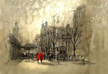 couple in red walking on street of city,freehand sketch