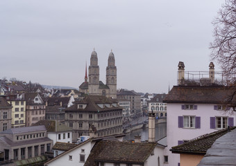Landscape from Zurich with Grossmunster church and the typically swiss houses