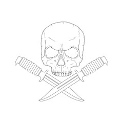 pirate skull with a knives