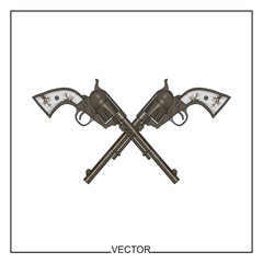 Vector illustration of old revolvers