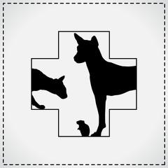 Vet Cross Black. Veterinary Sign