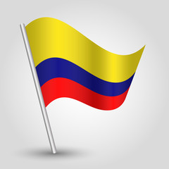 vector waving simple triangle colombian flag on slanted pole - icon of colombia with metal stick