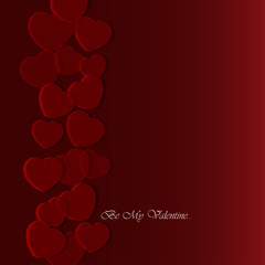 Valentines greeting card with translucent hearts
