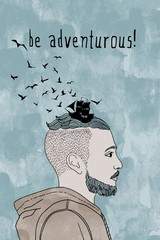 """be adventurous!"" - conceptual portrait of a guy with hair drawn like waves and the silhouette of a ship"