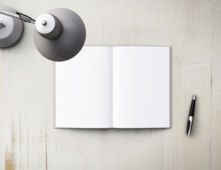 lamp, pen and notebook