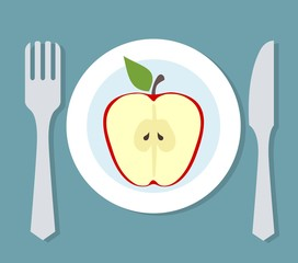 Plate with apple, fork and knife. Diet theme
