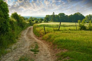 Fototapeta polna droga wśród pól kierująca się ku dolinie obraz