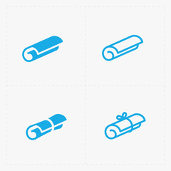 Modern flat Scrolls icons with ribbon on white
