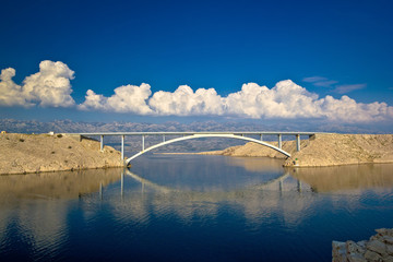 Island of Pag bridge and Velebit mountain