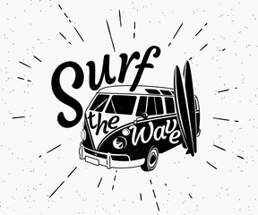 Van surf retro black and white illustration