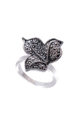 Silver Ring with leaf on a white background